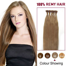 18 inches Golden Blonde (#16) 100S Stick Tip Human Hair Extensions
