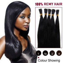 "30"" Jet Black (#1) 50S Stick Tip Human Hair Extensions"