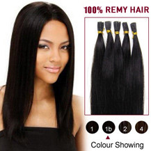 "16"" Natural Black (#1b) 100S Stick Tip Human Hair Extensions"