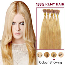 18 inches Strawberry Blonde (#27) 50S Stick Tip Human Hair Extensions