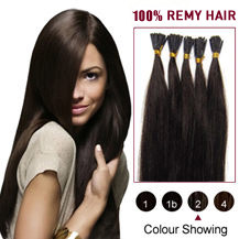 "30"" Dark Brown (#2) 100S Stick Tip Human Hair Extensions"