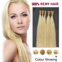 24 inches White Blonde (#60) 50S Stick Tip Human Hair Extensions