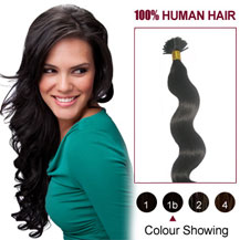 "24"" Natural Black (#1b) 50S Wavy Stick Tip Human Hair Extensions"