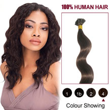 16 inches Medium Brown (#4) 50S Wavy Stick Tip Human Hair Extensions