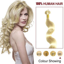 16 inches White Blonde (#60) 50S Wavy Stick Tip Human Hair Extensions