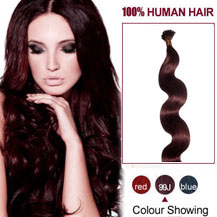 16 inches 99J 100S Wavy Stick Tip Human Hair Extensions