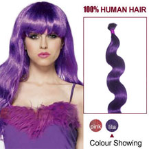16 inches Lila 50S Wavy Stick Tip Human Hair Extensions