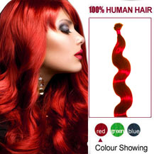 "16"" Red 100S Wavy Stick Tip Human Hair Extensions"
