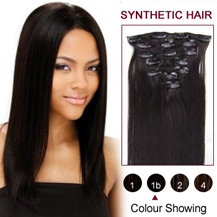 "22"" Natural Black (#1b) 7pcs Clip In Synthetic Hair Extensions"