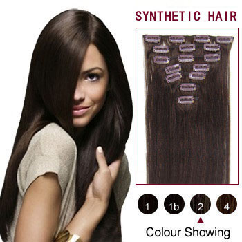 22 inches Dark Brown (#2) 7pcs Clip In Synthetic Hair Extensions