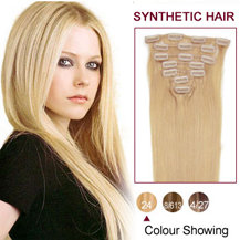 22 inches Ash Blonde (#24) 7pcs Clip In Synthetic Hair Extensions