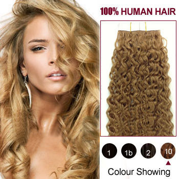 22 Light Brown 10 20pcs Curly Tape In Human Hair Extensions