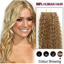 28 inches Golden Ash Blonde (#12 / 24) 20pcs Curly Tape In Human Hair Extensions