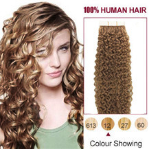 22 inches Golden Brown #12 20pcs Curly Tape In Human Hair Extensions