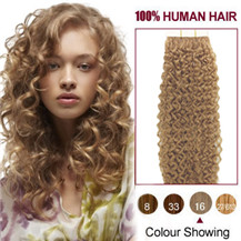 30 inches Golden Blonde #16 20pcs Curly Tape In Human Hair Extensions