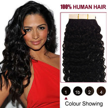 16 inches Jet Black (#1) 20pcs Curly Tape In Human Hair Extensions