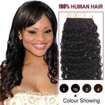 "26"" Natural Black (#1b) 20pcs Curly Tape In Human Hair Extensions"