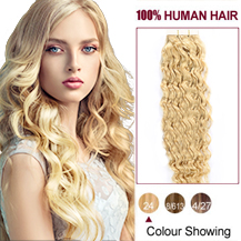 "26"" Ash Blonde (#24) 20pcs Curly Tape In Human Hair Extensions"