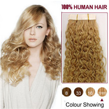 "20"" Blonde Highlight (#27 / 613) 20pcs Curly Tape In Human Hair Extensions"