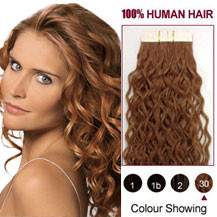 "16"" Light Auburn (#30) 20pcs Curly Tape In Human Hair Extensions"