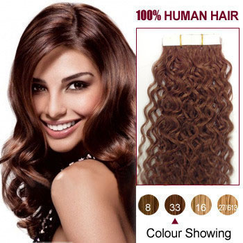 22 inches Dark Auburn (#33) 20pcs Curly Tape In Human Hair Extensions