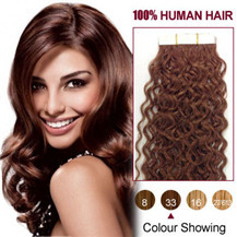 20 inches Dark Auburn (#33) 20pcs Curly Tape In Human Hair Extensions