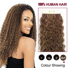 "16"" (#4/27) 20pcs Curly Tape In Human Hair Extensions"