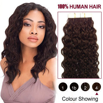 20 inches Medium Brown (#4) 20pcs Curly Tape In Human Hair Extensions