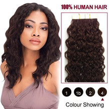 "16"" Medium Brown (#4) 20pcs Curly Tape In Human Hair Extensions"