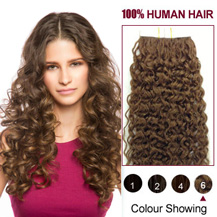 18 inches Light Brown (#6) 20pcs Curly Tape In Human Hair Extensions