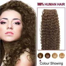 30 inches Ash Brown (#8) 20pcs Curly Tape In Human Hair Extensions