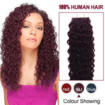 "16"" 99J 20pcs Curly Tape In Human Hair Extensions"