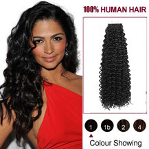 18 inches #1 Jet Black 20PCS Kinky Curly Tape in Human Hair Extensions