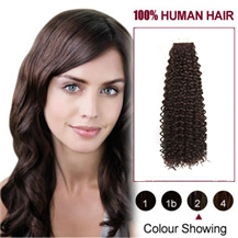 18 inches #2 Dark Brown 20PCS Kinky Curly Tape in Human Hair Extensions