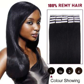 16 inches Jet Black (#1) 20pcs Tape In Human Hair Extensions