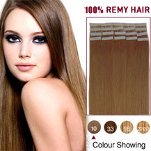 16 inches Light Brown (#10) 20pcs Tape In Human Hair Extensions