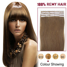 22 inches Golden Brown (#12) 20pcs Tape In Human Hair Extensions