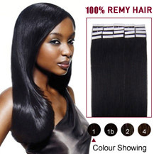 "20"" Jet Black (#1) 20pcs Tape In Human Hair Extensions"