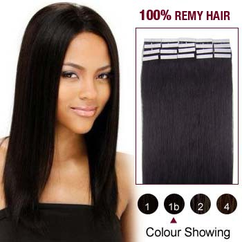 16 inches Natural Black (#1b) 20pcs Tape In Human Hair Extensions