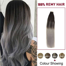 """20"""" Ombre (#1B/Grey) Tape In Human Hair Extensions"""