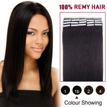 "20"" Natural Black (#1b) 20pcs Tape In Human Hair Extensions"