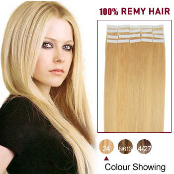 16 inches Ash Blonde (#24) 20pcs Tape In Human Hair Extensions