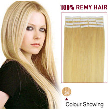 "16"" Ash Blonde (#24) 20pcs Tape In Human Hair Extensions"