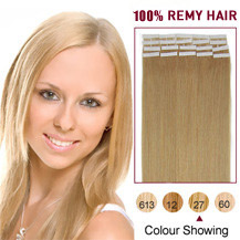 20 inches Strawberry Blonde (#27) 20pcs Tape In Human Hair Extensions