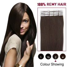 22 inches Dark Brown (#2) 20pcs Tape In Human Hair Extensions
