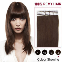 "24"" Medium Brown (#4) 20pcs Tape In Human Hair Extensions"