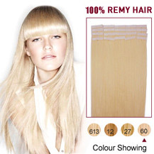 "22"" White Blonde (#60) 20pcs Tape In Human Hair Extensions"