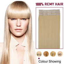 "24"" White Blonde (#613) 20pcs Tape In Human Hair Extensions"