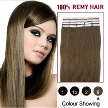 26 inches Light Brown (#6) 20pcs Tape In Human Hair Extensions