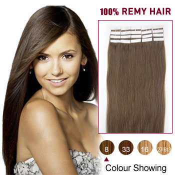 16 inches Ash Brown (#8) 20pcs Tape In Human Hair Extensions